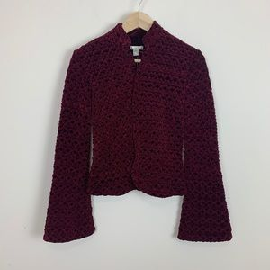 Cache NWT cranberry textured fitted jacket size 0